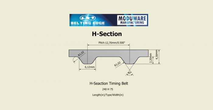 H-Section, PAZ Tooth Timing belt, Kevlar Cords, PU Material, Technical Drawing