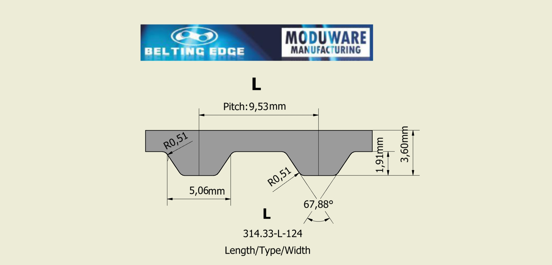 L-section, PAZ Tooth Timing belt, Kevlar Cords, PU Material, Technical Drawing