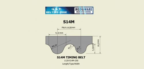 S14M Polyurethane open ended timing belt technical drawing