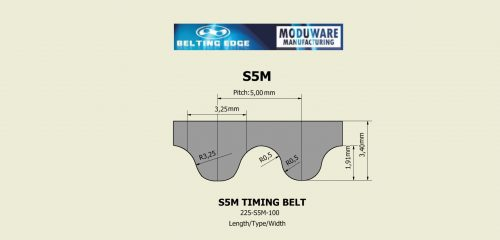 Open End – S5M Steel Cord Timing Belt Technical Drawing