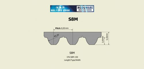 S8M PAZ Tooth Timing belt, Kevlar Cords, PU Material, Technical Drawing