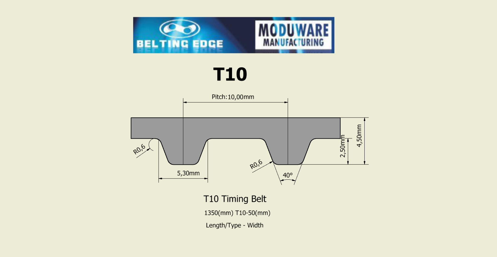 T10 PAZ Tooth, Timing belt, Kevlar Cords, PU Material. Technical Drawing