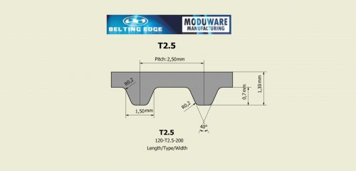 Open End – T2.5 Steel Cord Timing Belt, Technical Drawing