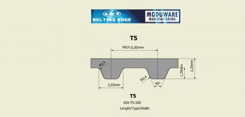 T5 Timing belt, Kevlar Cords, Technical Drawing