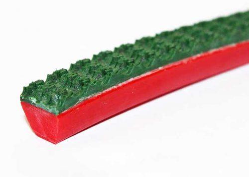 Polyurethane V-thane rough top Taiwan conveyor belt, red and green