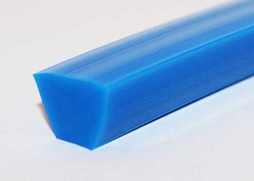V-thane smooth polyurethane base conveyor belt, V-Belt design, blue