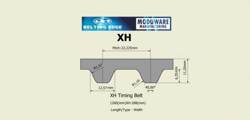 XH Open Ended Timing Belt Technical Drawing