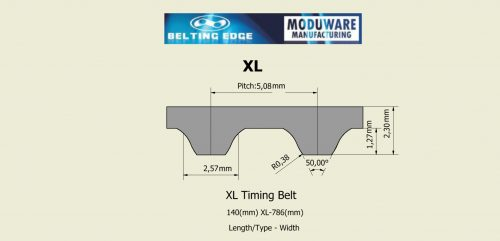 Open Ended XL Timing Belt. Polyurethane Material, Kevlar or Steel Cord Technical Drawing